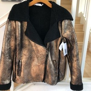 JustFab rosegold black metallic faux leather fuzzy